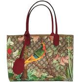 【GUCCI 古馳】412096 花鳥圖案印購物袋(棕色)