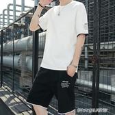 男裝一套搭配 帥氣個性潮流夏季新款潮牌男士運動t恤短袖短褲套裝 傑克型男館
