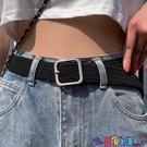 皮帶 百搭牛仔褲皮帶女無需打孔帆布腰帶女士編織鬆緊彈性學生裝飾褲帶 寶貝計畫 618狂歡