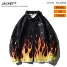 男外套火焰印花韓版外套 塗鴉街頭夾克外套秋季 嘻哈男生外套 歐美男士外套 潮牌外衣潮流外套