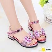 女童涼鞋 童鞋寶寶公主鞋韓版兒童鞋2020春夏新款亮片學生水鉆涼鞋