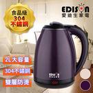 【EDISON 愛迪生】304不鏽鋼雙層防燙快煮壺2.0L/兩色任選(KL-1804A&B)
