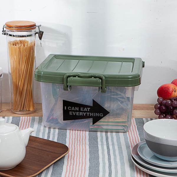 EAT附蓋收納箱-軍綠-生活工場