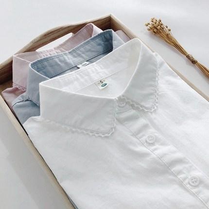 襯衫長袖 春秋韓版蕾絲花邊長袖白色襯衫女學生小清新修身百搭打底襯衣內搭 3色S-2XL