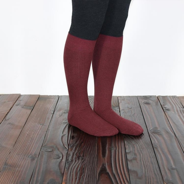WooKoo Concept黑色小腿襪女日系及膝襪長筒襪抽條襪子女秋冬潮襪