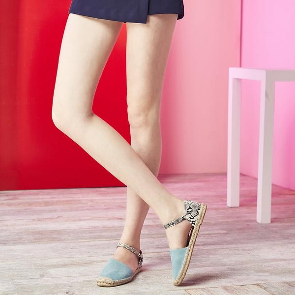 2017春夏_Keeley Ann夏日悠閒~夏威夷草繩編織蛇紋質感真皮平底涼鞋(藍色)