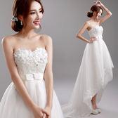 歐尚-公主新娘花朵抹胸前短后長婚紗禮服批發8271