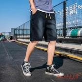 牛仔短褲 2020夏季男裝薄款直筒寬鬆男生潮流鬆緊腰簡約休閒大碼五分褲 OO13229【Rose中大尺碼】