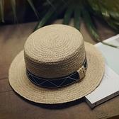 草帽-手工編織平頂帽渡假休閒海邊時尚女遮陽帽2色73si50【巴黎精品】