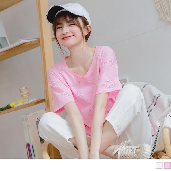 《AB13368-》可愛俏皮宇宙鏤空燒花棉質上衣/T恤 OB嚴選