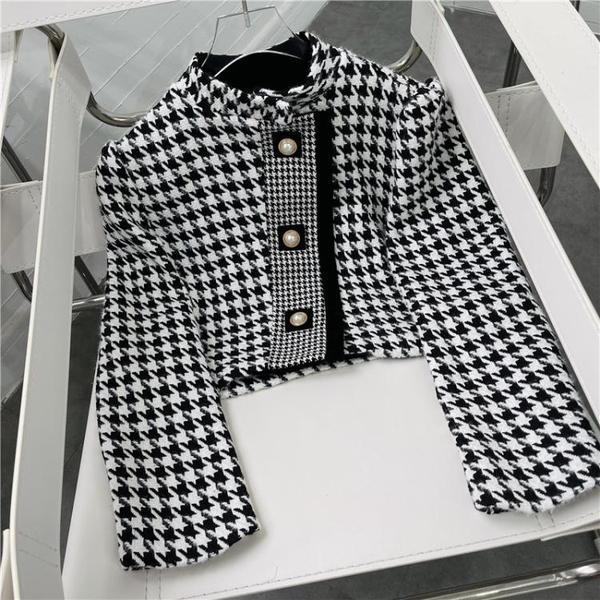 外套 长袖 百搭外套時尚小香風短千鳥格外套女韓版高級感名媛氣質上身NE68-A1 胖妞衣櫥