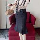 優雅魚尾裙修身中長版包臀(S-XL可選)/設計家 293121