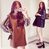 【韓國K.W.】(現貨在台) 時尚設計開岔背心條紋洋裝