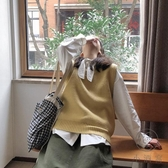 毛線背心小V領毛衣針織馬甲女【小酒窩服飾】
