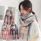 仿羊絨大格子圍巾 兩用格紋流蘇披肩 4色【Q19003】