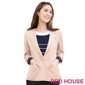 【RED HOUSE-蕾赫斯】翻領七分袖短版西裝外套(共三色)