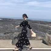 大碼女裝2019新款胖妹妹洋氣遮肚子黑色波點顯瘦藏肉連身裙長裙夏 韓流時裳