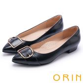 ORIN 輕熟魅力 羊皮皮帶釦環尖頭低跟鞋-黑色