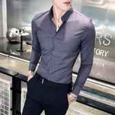 精品垂滑純色簡約百素面襯衫 搭凈版男士高檔休閒長袖襯衫修身正韓