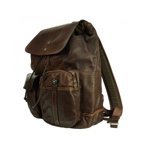 【TOUGH】鐵釦+束口造型皮革後背包(咖啡)