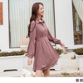 《DA8111-》優雅純色襯衫領半門襟高腰層次造型裙洋裝 OB嚴選