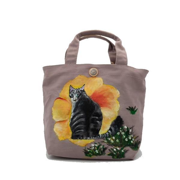 朵那的手繪包 木棉花與貓 帆布手提包