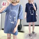 孕婦裝 MIMI別走【P12141】 熊熊棉質哺乳衣 舒適寬版