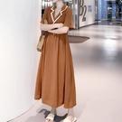 大尺码女装 大碼女裝新款寬松洋氣夏裝長裙子胖mm顯瘦遮肚桔梗連衣裙法式減齡