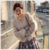 ✦Styleon✦正韓。清新甜美落肩排釦針織外套。韓國連線。韓國空運。0108。