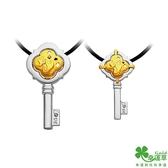 幸運草金飾 存在黃金/白鋼成對墜子 送項鍊
