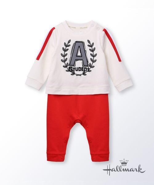 Hallmark Babies快樂上學去男嬰假兩件長袖連身衣 HG3-R01-21-BB-MW