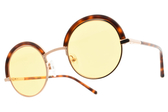 CARIN 太陽眼鏡 BENILA C2 (琥珀棕玫瑰金-黃鏡片) 韓星秀智代言 個性圓眉框款 墨鏡 # 金橘眼鏡