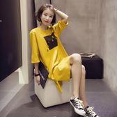 春裝新品女寬鬆t恤女中長版韓版韓版顯瘦打底學生半袖連身裙子夏 【限時八五折】