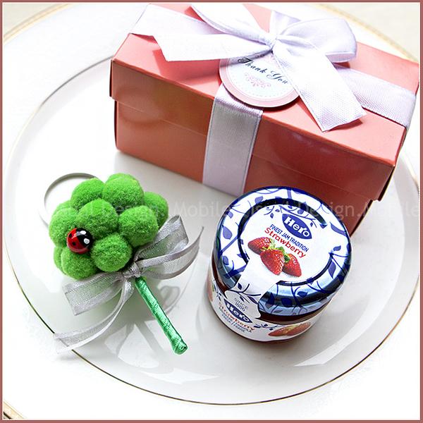 Double Love Pink盒「藍蓋hero果醬+花椰菜鑰匙圈」小禮盒--婚禮小物.禮贈品.送伴娘幸福朵朵