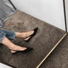 2020新款歐美V口包頭淺口尖頭后空涼鞋女黑色單鞋平跟平底女鞋夏 韓國時尚週