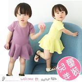 春夏女童純棉素色荷葉邊短袖連衣裙