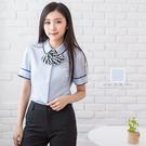 女襯衫/細折小荷葉無領短袖襯衫【Sebi...