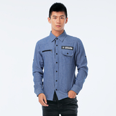 BigTrain 加大仿牛仔細條紋襯衫-男-藍底白條-K1007855