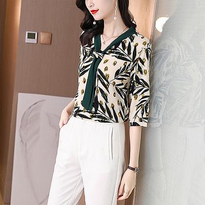 S-3XL涼感上衣短袖雪紡衫~清新樹葉印花氣質撞色清涼小衫NA51F愛尚布衣