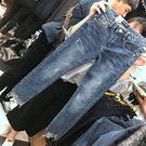 前短后長單寧牛仔褲女修身顯瘦開叉毛邊淺色不規則九分直筒褲