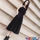 吊帶連身裙 春裝2021年新款赫本風內搭小黑裙女百搭吊帶裙復古打底連身裙寶貝計畫 上新