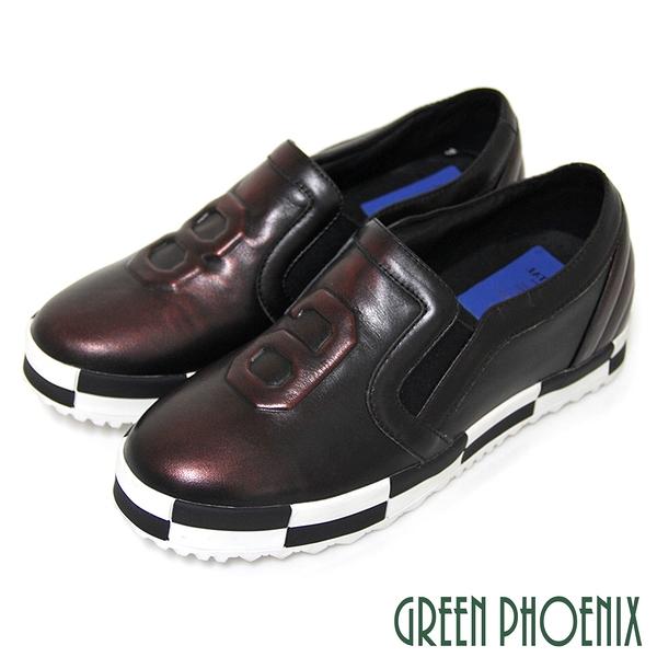 U28-20717 女款平底休閒鞋 86黑白格紋套入式進口手工精品平底休閒鞋【GREEN PHOENIX】BIS-VITAL