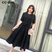 中大尺碼 黑色短袖長裙洋裝(附腰帶) - 適XL~4L《 68076 》CC-GIRL
