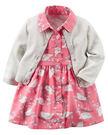 【美國Carter's】套裝二件組 - 甜蜜小鳥兒圖騰洋裝+純棉針織外套 121G883