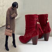 大尺碼女鞋 2019秋季新款時尚顯瘦優雅舒適絨皮流蘇尖頭高跟靴~3色