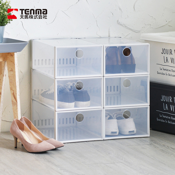 【日本天馬】加高款前開式防臭層疊透明鞋靴收納盒-6入
