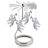 歐沛媞 歐式旋轉燭罩蠟燭台-銀-經典天使 加贈YANKEE CANDLE 香氛蠟燭49g