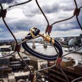 手鍊 歐美時尚創意手工船錨手鏈男士海軍風復古情侶皮手環個性百搭手飾 生日禮物