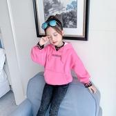 女童加絨加厚連帽T恤秋冬裝2019新款中大兒童女孩連帽打底衫洋氣網紅 Cocoa