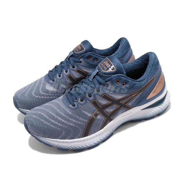 Asics 慢跑鞋 Gel-Nimbus 22 4E Extra Wide 超寬楦頭 藍 金 白 男鞋 運動鞋 【ACS】 1011A682023